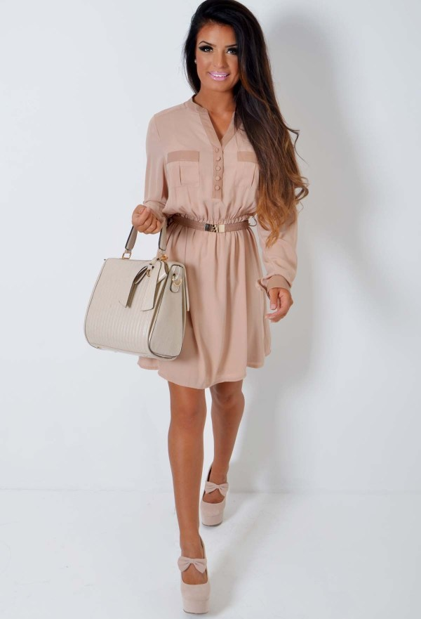 Pink Boutique nude chiffon t-shirt dress