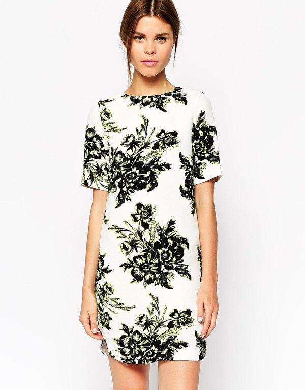 Warehouse floral t-shirt dress