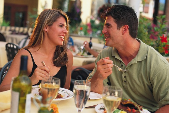 Man and woman in restaurant