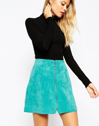 ASOS A-Line Skirt in Suede With Zip Through Detail - £55