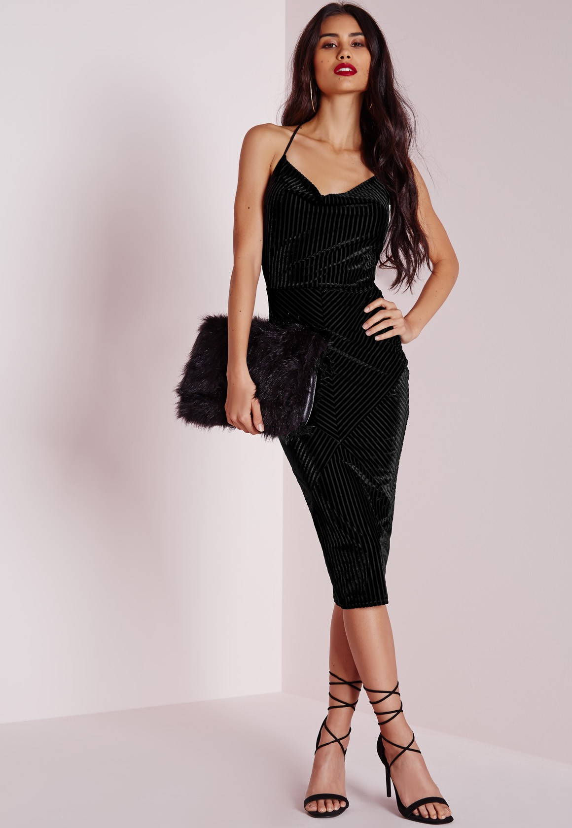 Missguided Ribbed Velvet Strappy Bodycon Dress Black