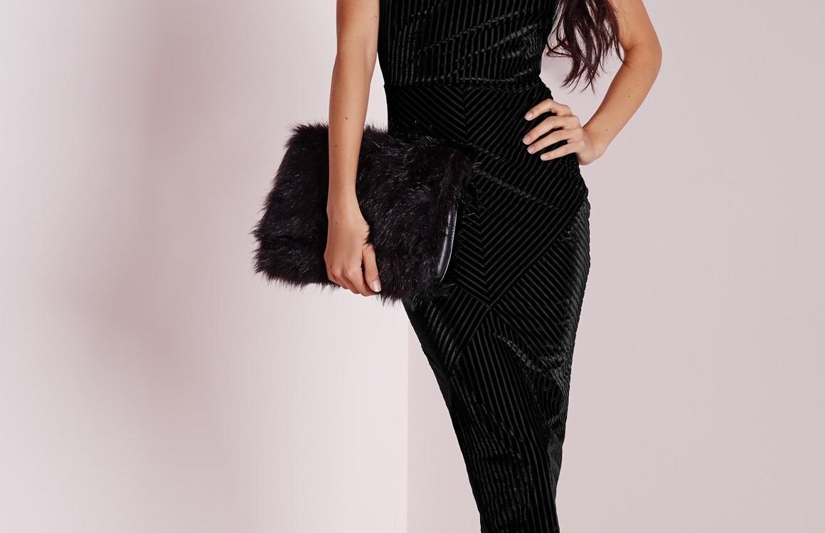 Missguided Ribbed Velvet Strappy Bodycon Dress Black
