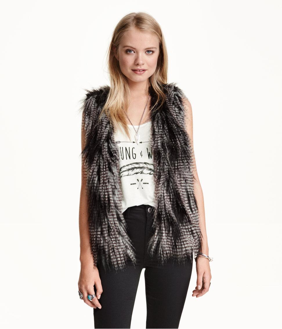 H&M faux fur waistcoat