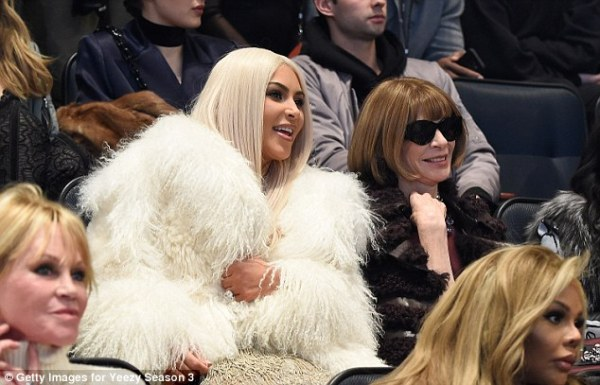 Kim chatted with Vogue editor in chief Anna Wintour Read more: http://www.dailymail.co.uk/tvshowbiz/article-3443547/What-day-Kim-Kardashian-Kanye-West-sneak-hotel-NYFW-fashion-listening-party.html#ixzz3zxGcR4qU  Follow us: @MailOnline on Twitter   DailyMail on Facebook