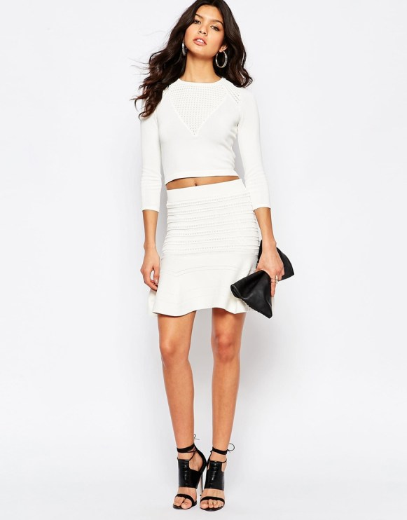 River Island cropped top and skirt