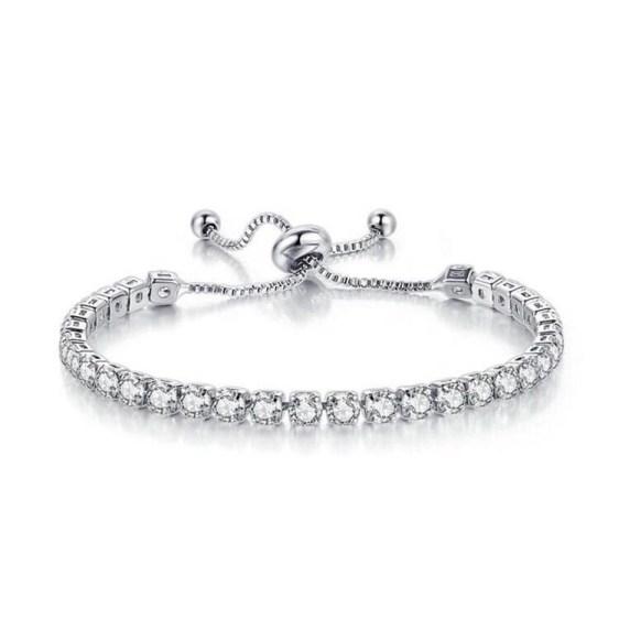 Estee Lane White Gold Tennis Bracelet gift