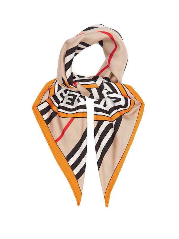 BURBERRY  Logo-print silk scarf
