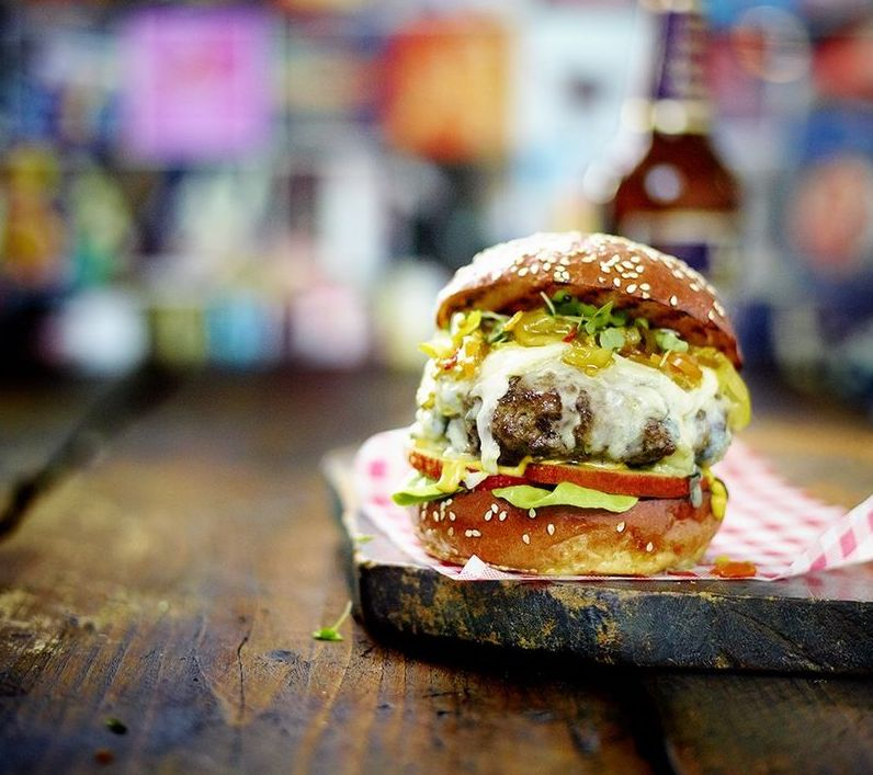 Blue Cheese and Apple Burger