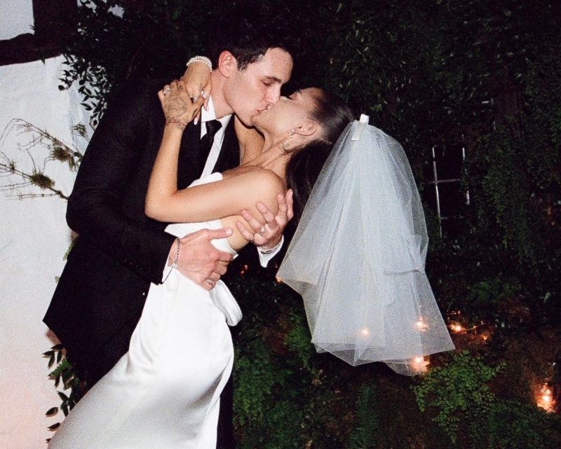 ariana grande wedding day kiss