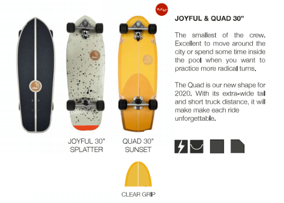 surfskate slide joyful quad 30