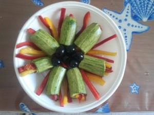 Zucchini ripieni di peperoni