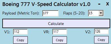 Boeing 777 V-Speed Calculator