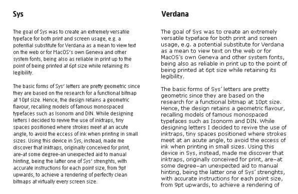 Verdana vs Sys comparison