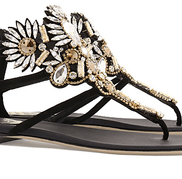 Mumbai_Flat sandal in black with stones and golden details