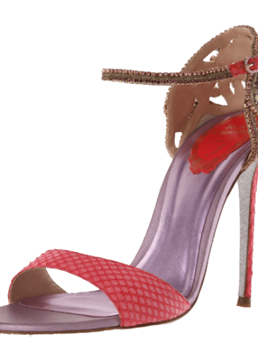 Spring_Sophia_Coral ayer snakeskin sandal with mini studs and crystals
