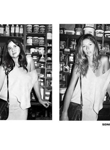 Nathalie Croquet spoofs a Sonia Rykiel ad with Gisele Bundchen