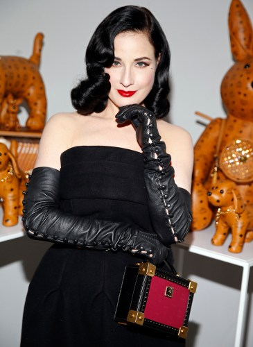 Dita Von Teese helps MCM celebrate the fall 15 collection preview in Hollywood, CA.
