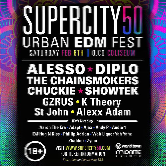"1st Annual Urban EDM Festival ""SuperCity 50"" To Kickoff Superbowl At The OC Coliseum…"