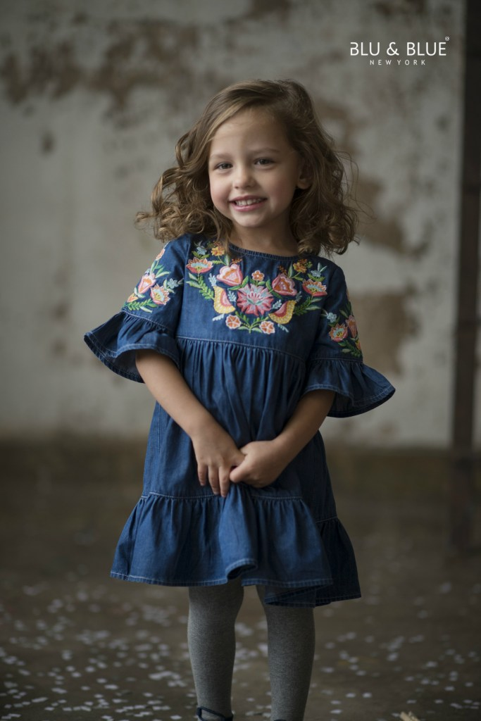 TG 713 Giovanna denim embroidered dress