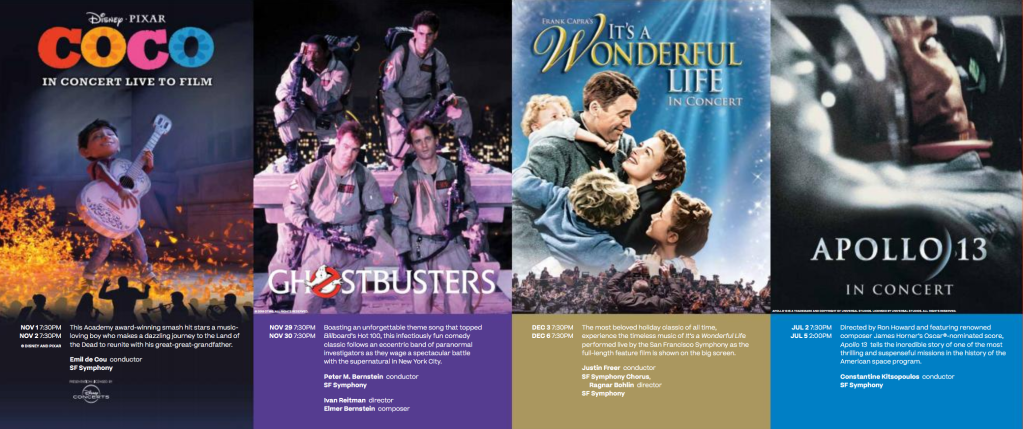 THE SAN FRANCISCO SYMPHONY'S ANNUAL FILM SERIES FEATURES SCREENINGS OF DISNEY AND PIXAR'sCOCO, SONY PICTURES'GHOSTBUSTERS, FRANK CAPRA'SIT'S A WONDERFUL LIFE, AND RON HOWARD'SAPOLLO 13 PERFORMED LIVE TO PICTURE 2019–20 season also includes performances ofGet Outand Love Actually…