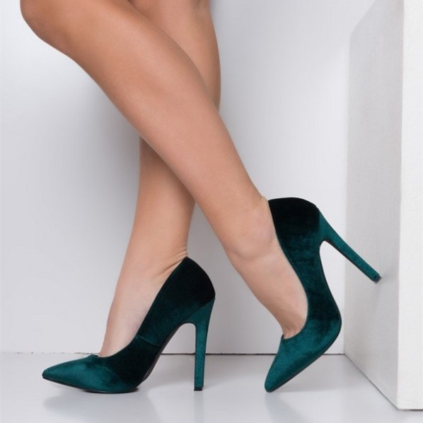 Velvet Stiletto Heels Teal Shoes Pointy Toe Pumps for Women