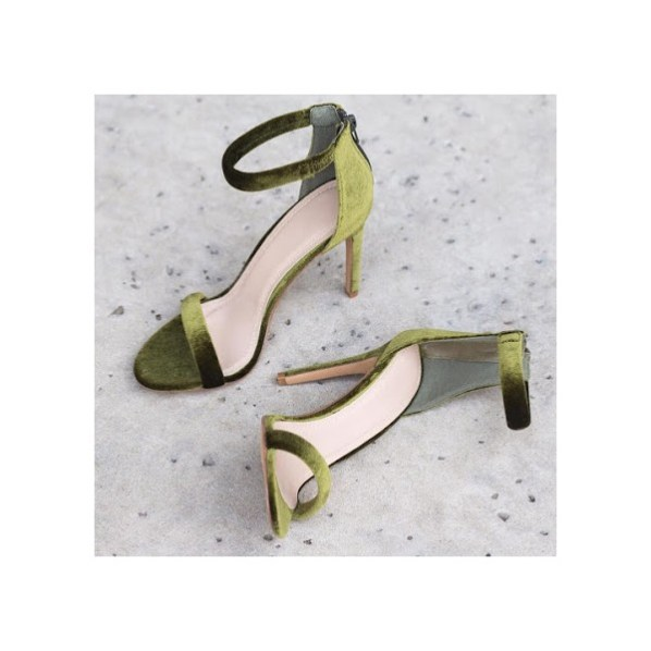 Olive Green Velvet Stiletto Heels Ankle Strap Summer Sandals