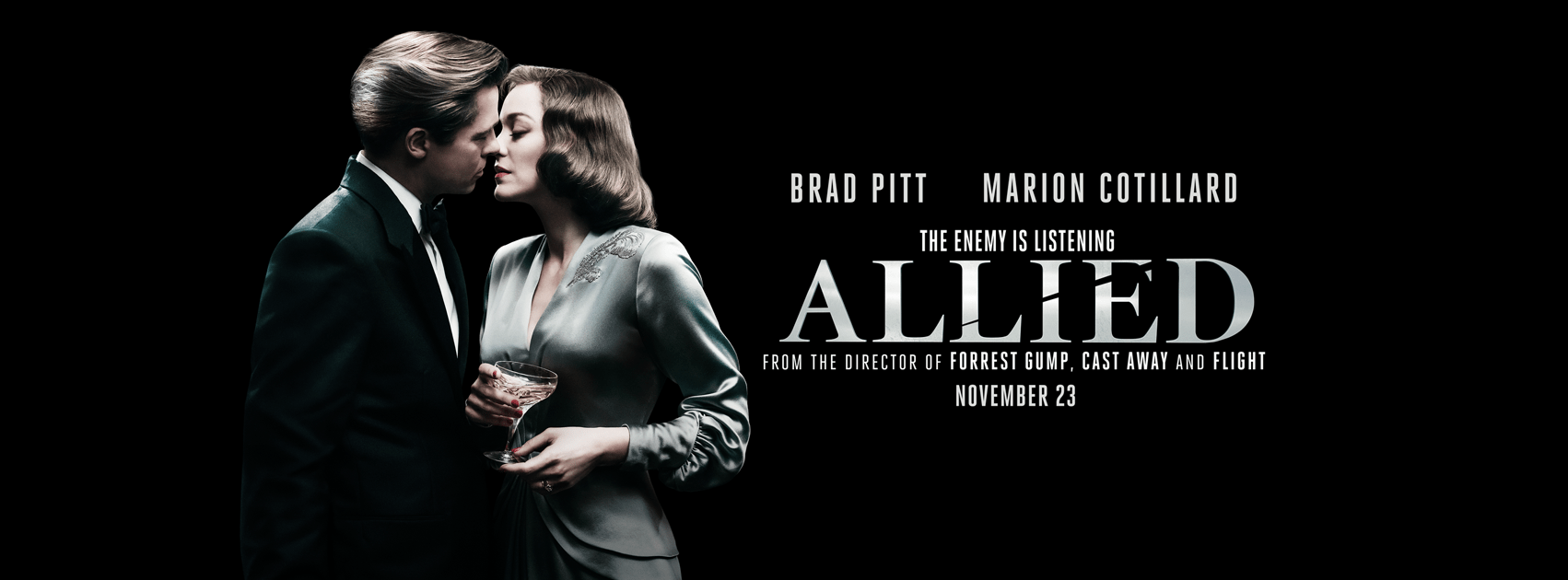 gorgeous new poster from allied starring brad pitt and marion