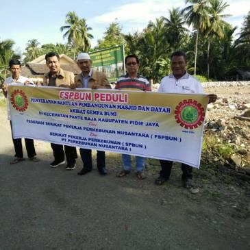 FSPBUN & SPBUN PTPN I Serahan Bantuan Dana Gempa Pidie Jaya untuk 3 Mesjid