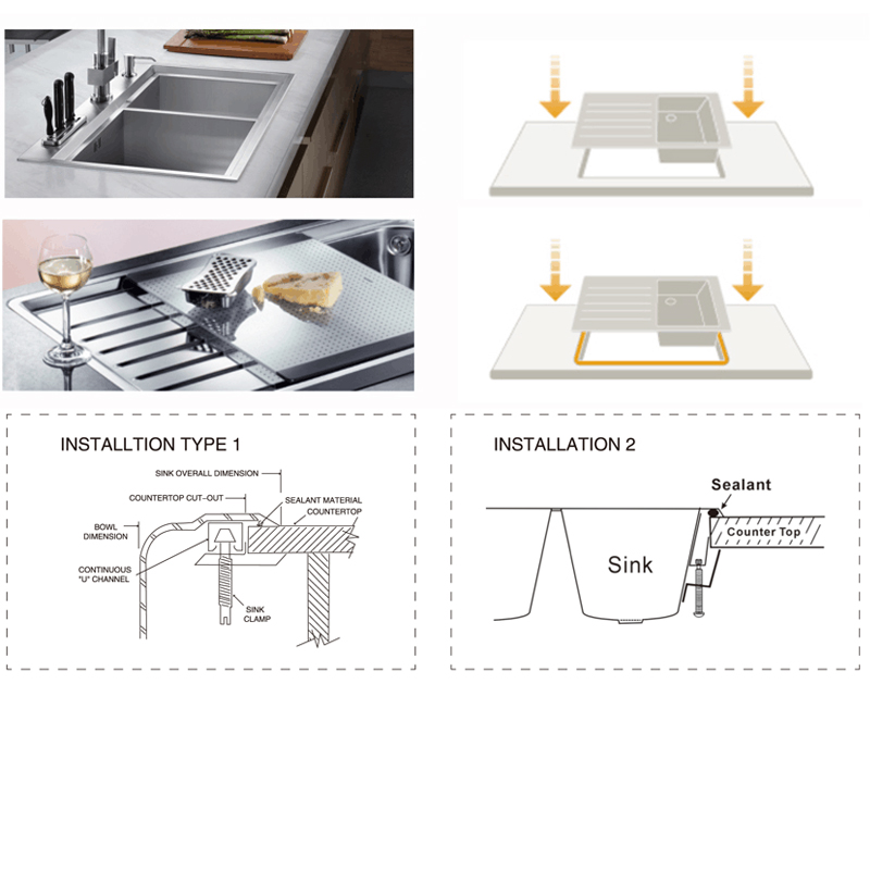 difference between topmount sinks and