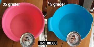 Start. Minus sex grader ute och jag satte ut två bunkar med en halv liter vatten i varje.