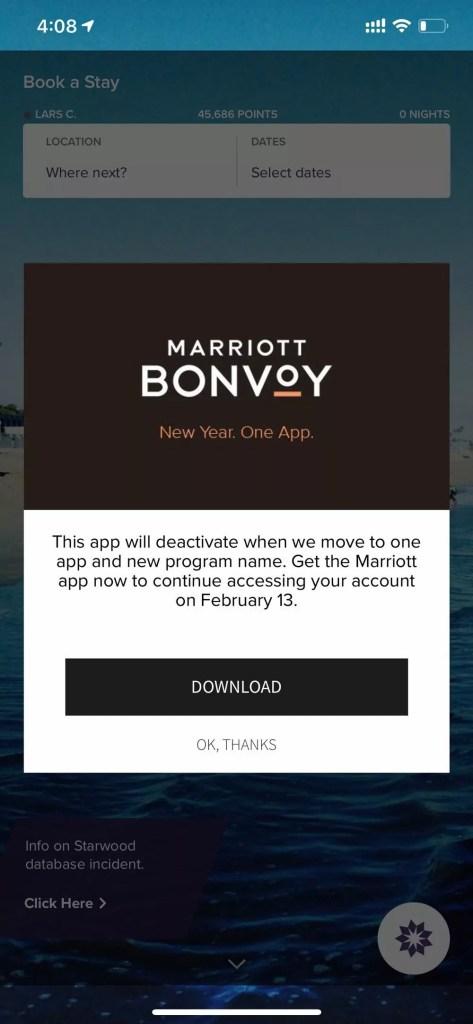 Marriott stellt den Support für die SPG App ein. Foto:SPG App screenshot