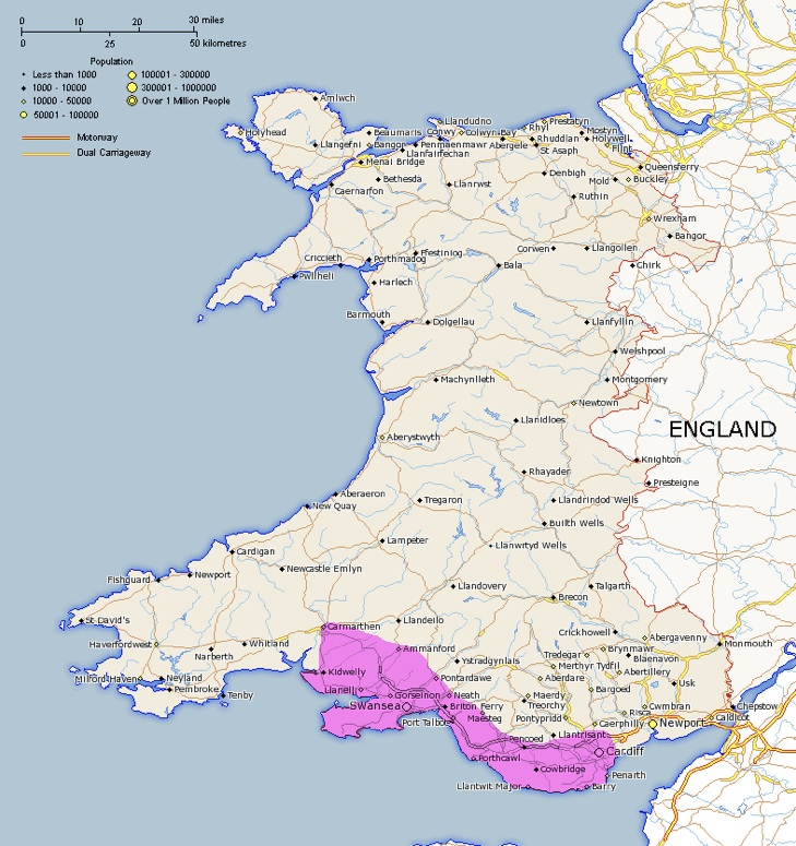 map of wales - coloured