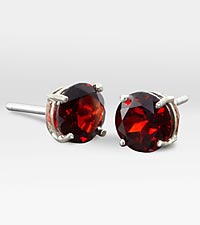 6mm Genuine Garnet 10K White Gold Stud Earring