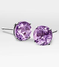 6mm Genuine Amethyst 10K White Gold Stud Earrings
