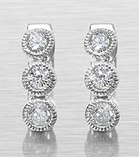 Created White Sapphire Solitaire Bezel Milgrain Sterling Silver Earrings