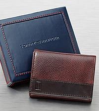 Tommy Hilfiger Men's Brown Tri-Fold Wallet