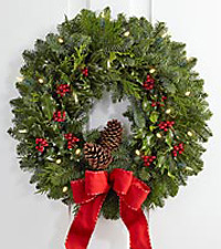The FTD® Jolly Greetings Holiday Wreath by Better Homes and Gardens®