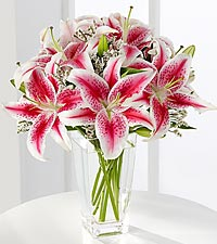 The FTD® Pink Lily Bouquet - VASE INCLUDED
