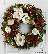 Jane Seymour Silk Botanicals Holiday Classic Magnolia Wreath