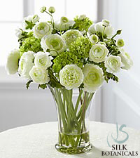 Jane Seymour Silk Botanicals White Garden Bouquet in Glass Vase