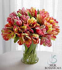 Jane Seymour Silk Botanicals Pink Parrot Tulips in Glass Vase