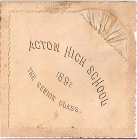 Acton graduation invitation, 1891