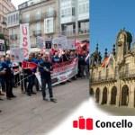 Concentración de la FTSP-USO Galicia (Lugo) a las puertas del Concello de esta ciudad.