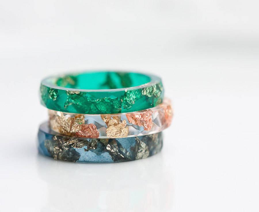 Handmade Amp Elegant Rings Made Of Metallic Flakes And