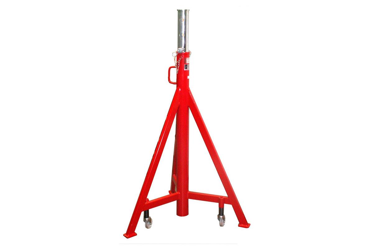 Unterstellbock mit 5000kg Tragkraft und Rasterverstellung (650mm). Die Grundbauhöhe beträgt wahlweise 1240mm (Typ: UB-N-R 5 / Art. Nr.: 8.715.000) oder 900mm (Typ: UB-K-R 5 Art. Nr. 8.715.000-K)