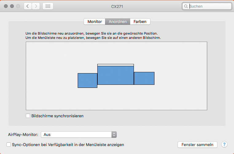 Screenshot Monitore-Dialog unter OS X