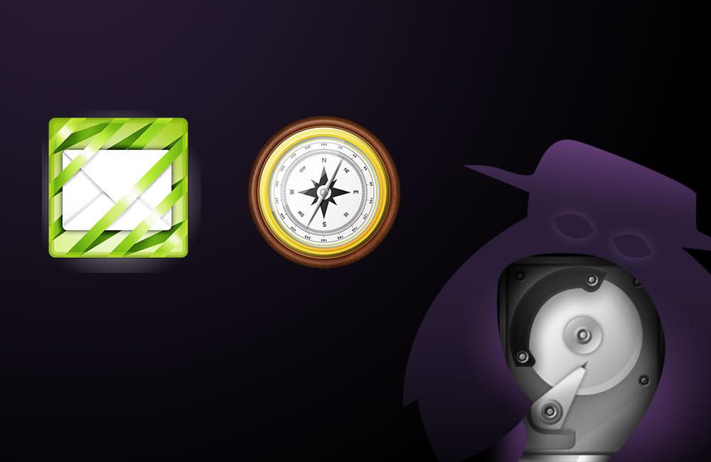 Drei Icons: Briefumschlag, Kompass und Fantasiefigur