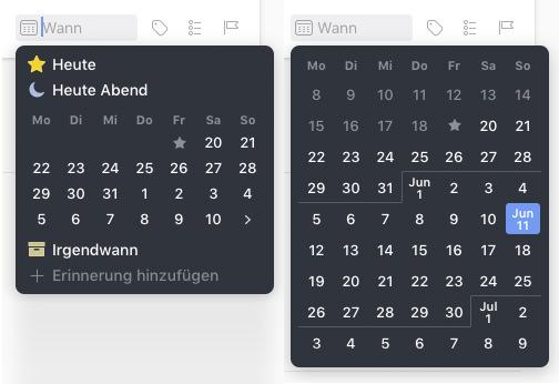 Der normale und der erweiterte Datepicker in Things 3.
