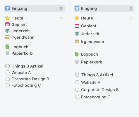 Übersicht Seitenleiste Things 3 macOS