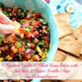 Roasted Garlic & Black Bean Salsa with Sea Salt & Pepper Tortilla Chips